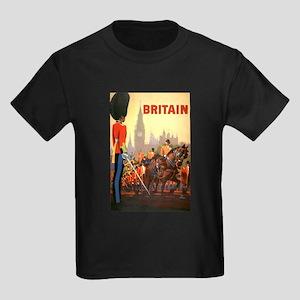 Vintage Travel Poster, Britain Kids Dark T-Shirt