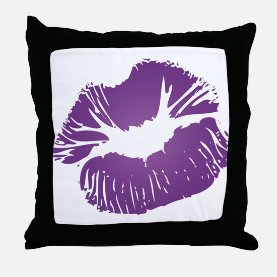 Big Purple Lips Throw Pillow