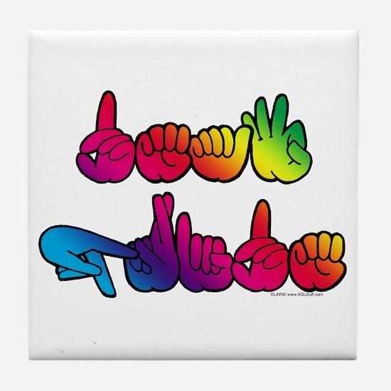 Deaf Pride Rainbow Tile Coaster