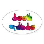 Deaf Pride Rainbow Sticker (Oval 10 pk)