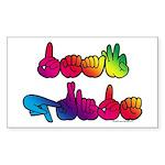 Deaf Pride Rainbow Sticker (Rectangle)