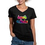 Deaf Pride Rainbow Women's V-Neck Dark T-Shirt