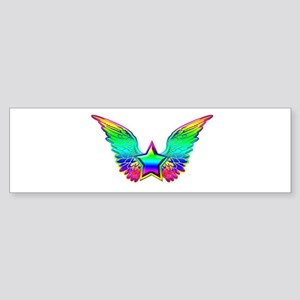 Rainbow winged star Bumper Sticker