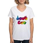 DEAF CAN Rainbow Women's V-Neck T-Shirt