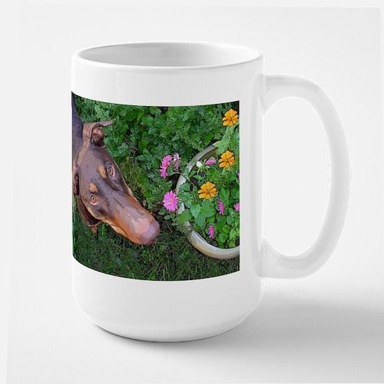 Red Doberman Large Mug