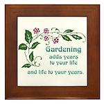 Gardening adds Years Framed Tile