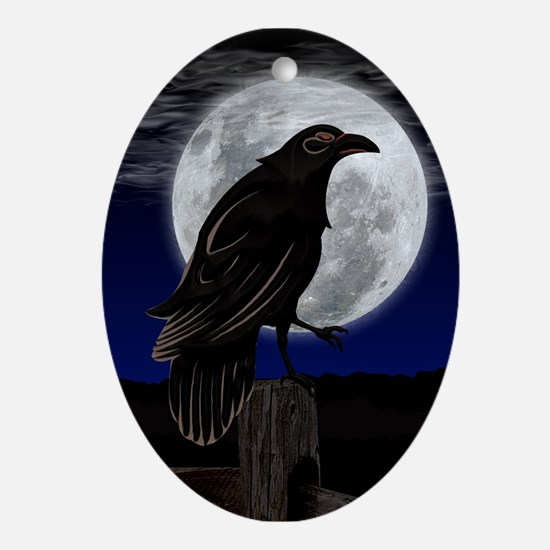 Raven's Moon Oval Ornament