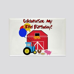 Farm 3rd Birthday Rectangle Magnet