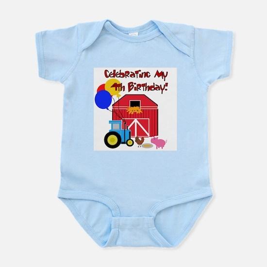 Farm 4th Birthday Infant Creeper