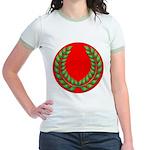 Red with green laurel Jr. Ringer T-Shirt