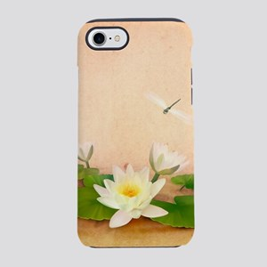 Lotus and Dragonfly Grunge iPhone 7 Tough Case