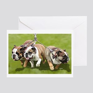 Bulldogs Butts Coming and Going Greeting Cards (Pa