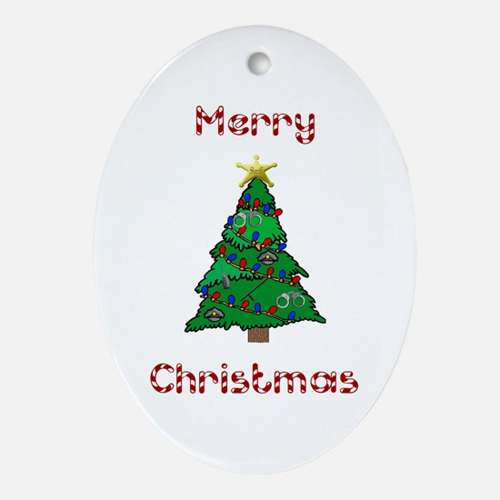 Merry Christmas Police Tree Oval Ornament