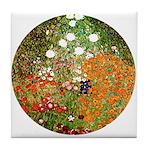 Klimt's Flower Garden Tile Coaster