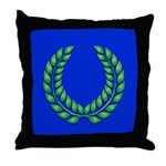 Blue with green laurel Throw Pillow