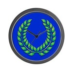 Blue with green laurel Wall Clock