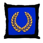 Blue with gold laurel Throw Pillow