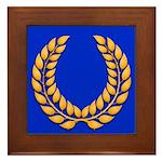 Blue with gold laurel Framed Tile