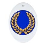 Blue with gold laurel Oval Ornament