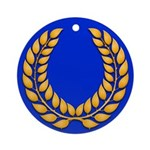 Blue with gold laurel Ornament (Round)