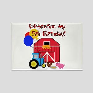 Farm 5th Birthday Rectangle Magnet