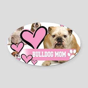 English Bulldog Mom Oval Car Magnet