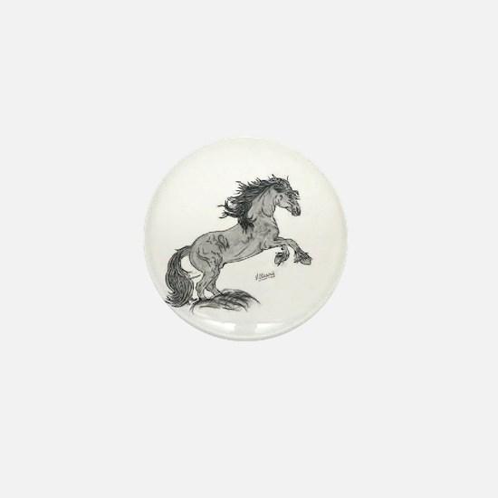 Cute Friesian horse Mini Button