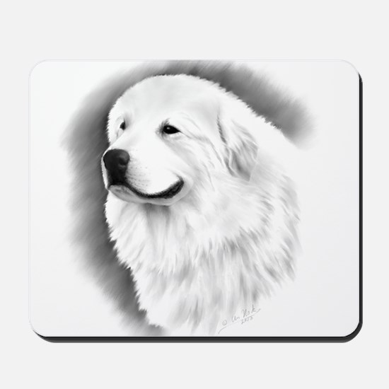 Great Pyrenees Headstudy Mousepad