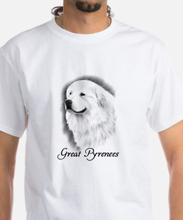 Great Pyrenees Headstudy White T-Shirt