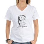 Great Pyrenees Headstudy Women's V-Neck T-Shirt