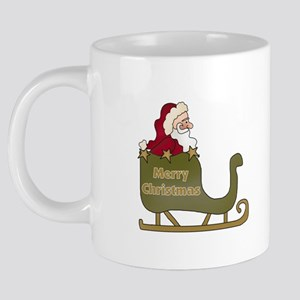 Santa and Sleigh Mug,final. 20 oz Ceramic Mega Mug
