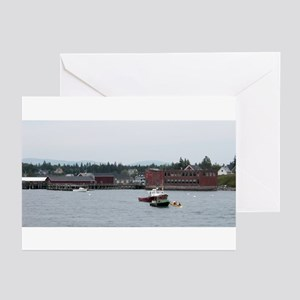 2 Boats tied w/red doGreeting Cards (Pk of 10)