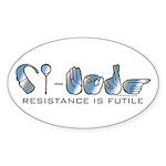CI-Borg Resistance Oval Sticker (50 pk)