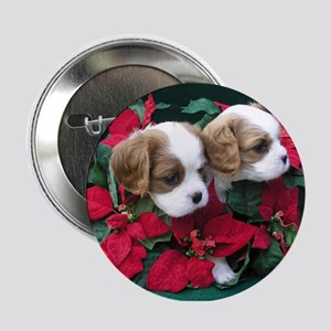 Button - Christmas Cavalier Duo