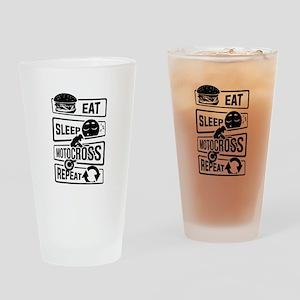 Eat Sleep Motocross Repeat - Motorc Drinking Glass