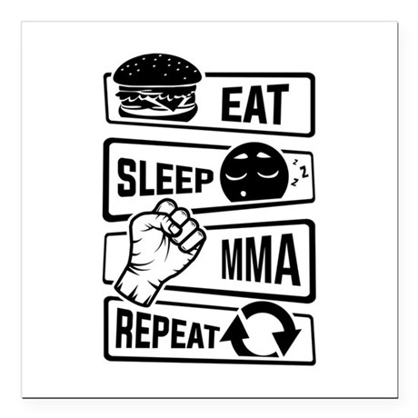 eat sleep mma repeat m square car magnet 3 x 3 by admin cp142635138. Black Bedroom Furniture Sets. Home Design Ideas