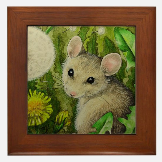 Mouse And Dadelions Framed Tile
