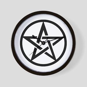 black gothic pentacle Wall Clock