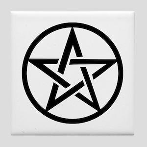 black gothic pentacle Tile Coaster