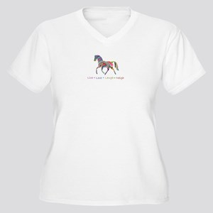 Rainbow pony Women's Plus Size V-Neck T-Shirt