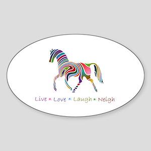 Rainbow pony Oval Sticker
