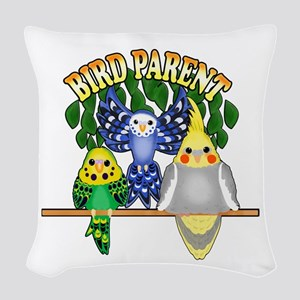 Bird Parent Woven Throw Pillow
