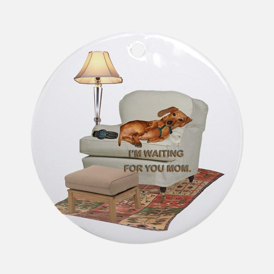 TV Doxie Ornament (Round)