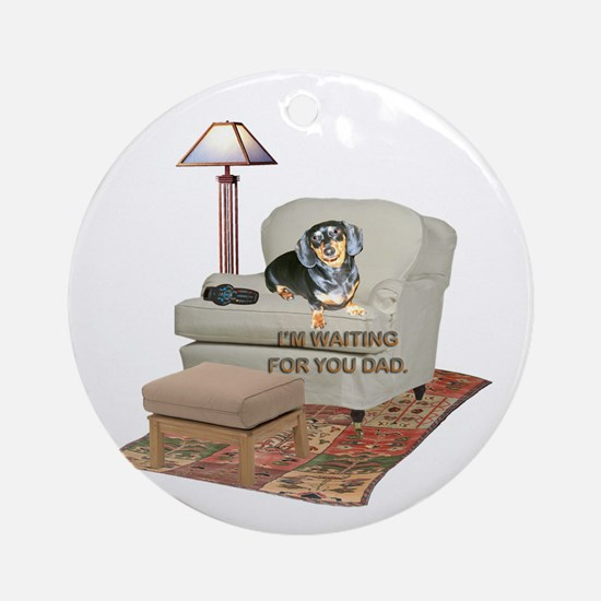 TV Dad Doxie Ornament (Round)