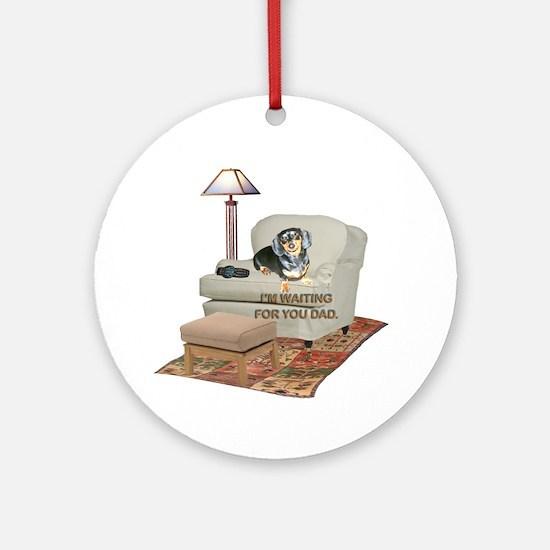 TV Dad Doxie Ornament (Round)