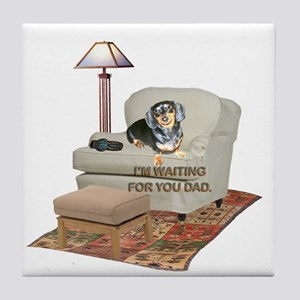 TV Dad Doxie Tile Coaster
