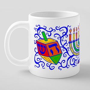 dreidle-menorah-curly 20 oz Ceramic Mega Mug