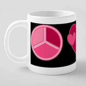 breast cancer peace love cu 20 oz Ceramic Mega Mug