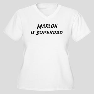 Marlon is Superdad Women's Plus Size V-Neck T-Shir