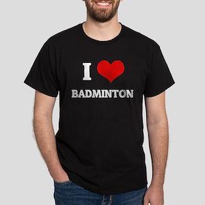 I Love Badminton Black T-Shirt